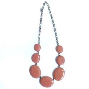 Coral Oval Chain Link Summer Statement Necklace